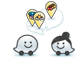 Police, accident and traffic icons.  Photo credit: Waze.com