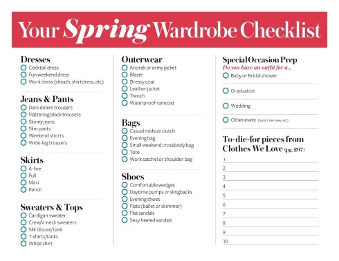 Checklist from InStyle